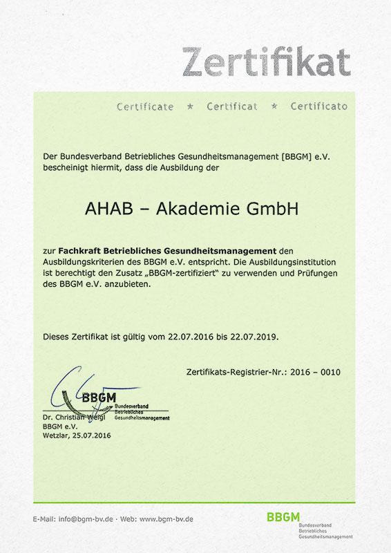 Fachkraft für Betriebliches Gesundheitsmanagement (BBGM ...