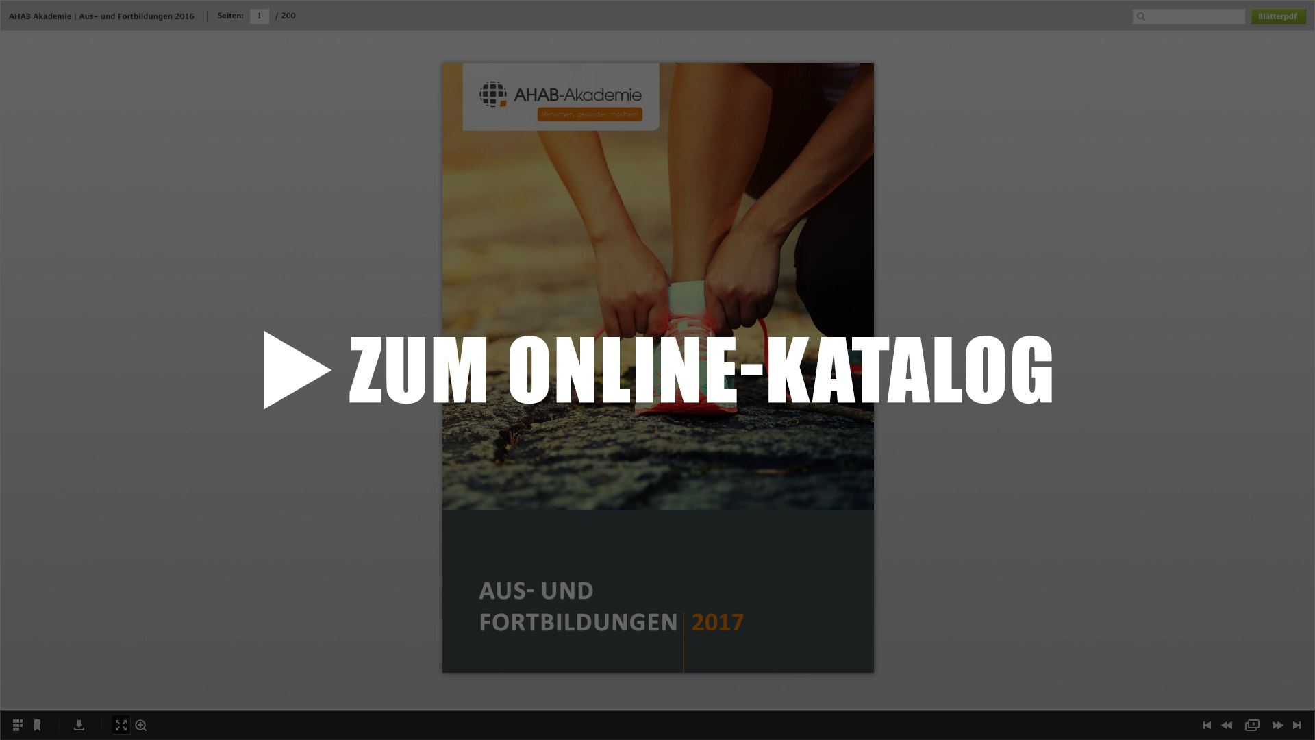 Screenshot vom Online-Katalog
